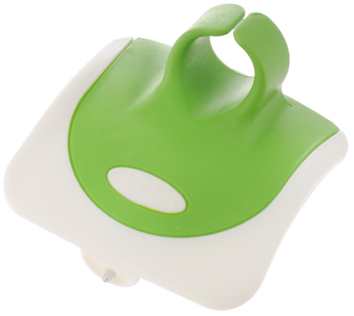 Овощечистка Chefn, цвет: зеленый, белый102-040-011Овощечистка Chefn выполнена из пластика, стали и силикона. Изделие очень удобно. Овощечистка помещается в руку и одевается на палец. Удобная овощечистка Chefn поможет вам очень быстро и без особого усилия почистить овощи. Можно мыть в посудомоечной машине. Общая длина овощечистки: 7 см.