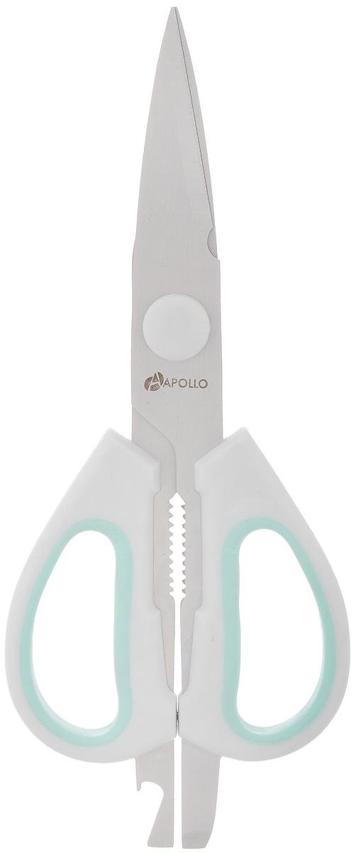Ножницы кухонные Apollo Stratus, цвет: серый, зеленый, длина 21,5 смSTS-99_серый, зеленыйНожницы Apollo Stratus, изготовленные из нержавеющей стали и пластика, являются универсальным помощником в вашем доме. На ручке предусмотрен небольшой металлических нож для открытия картонных и полимерных упаковок, а также открывалка для бутылок. Ножницы Apollo Stratus будут отличным помощником на вашей кухне. Длина: 21,5 см. Длина лезвий: 11 см.