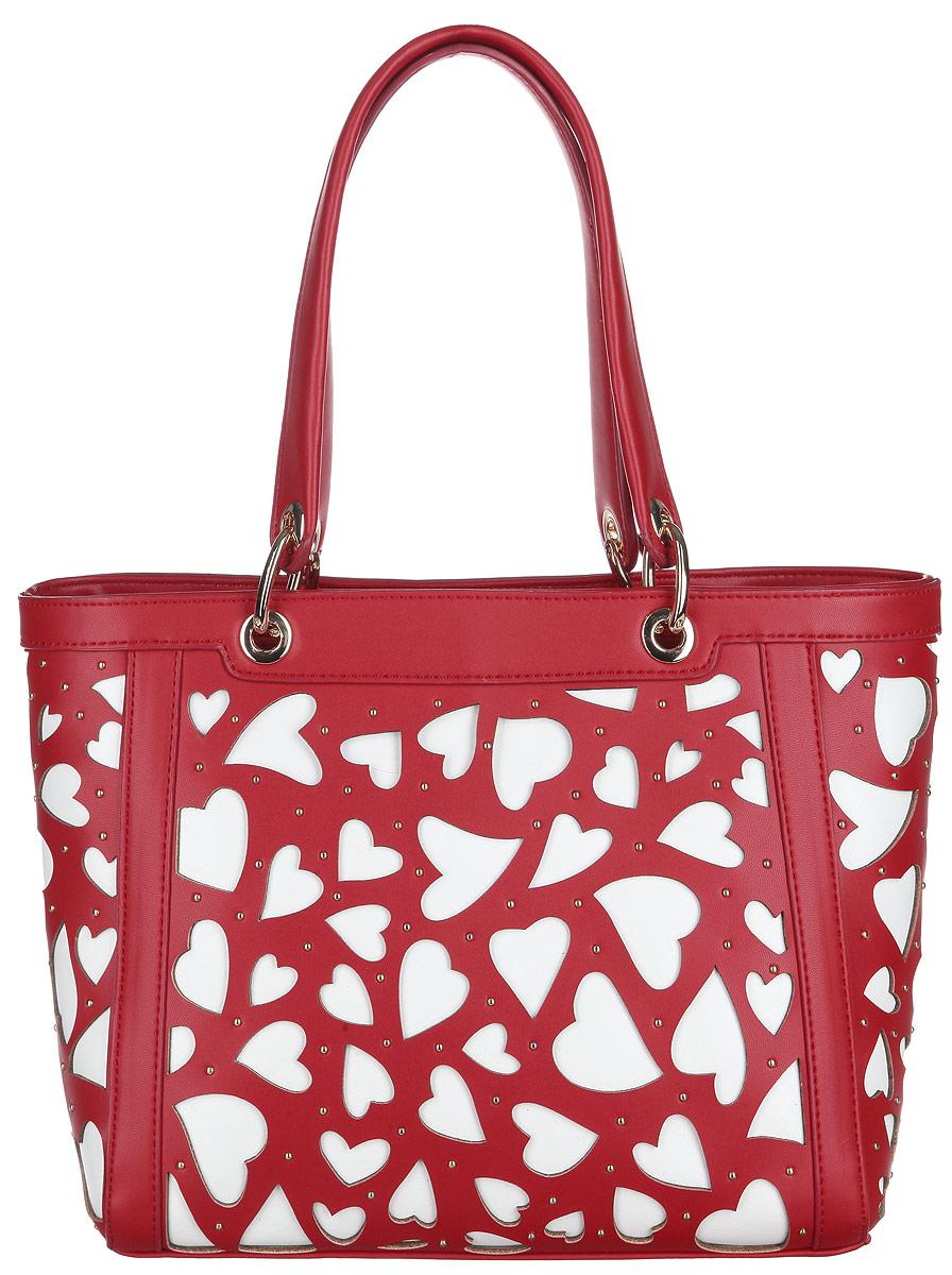 Сумка женская Calipso, цвет: красный, белый. 469-041286-231469-041286-231Стильная женская сумка Calipso выполнена из искусственной гладкой кожи. Модель оформлена оригинальной вырубкой в форме сердечек и маленькими металлическими кнопками. Модель состоит из одного основного отделения, закрывающегося на пластиковую застежку-молнию. Изделие содержит врезной карман на молнии, небольшой нашивной карман на молнии, открытый карман, два накладных кармана для мелочей и ремешок с кольцом для ключей. На тыльной стороне сумки предусмотрен врезной карман на молнии. Плоское дно сумки обеспечивает необходимую устойчивость. Сумка оснащена двумя удобными ручками, дополненными металлическими кольцами у основания. Прилагается съемный плечевой ремень, регулируемой длины и фирменный текстильный чехол для хранения. Сумка - это стильный аксессуар, который сделает ваш образ изысканным и завершенным. Классические формы и оригинальное оформление сумки Calipso подчеркнет ваше отменное чувство стиля.