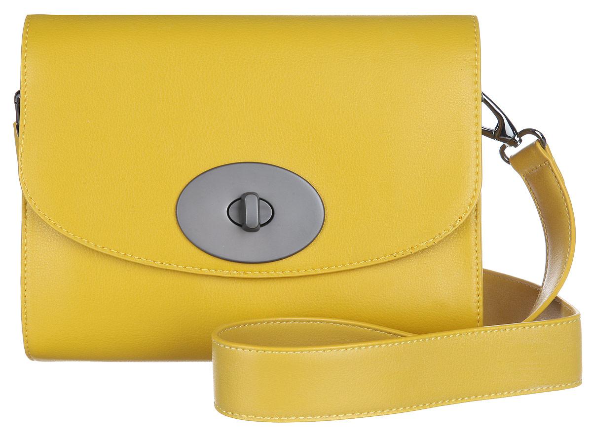 Сумка женская VelVet, цвет: желтый. 591-141286-231591-141286-231Оригинальная женская сумка VelVet выполнена из искусственной кожи, оформленной естественным тиснением. Сумка закрывается на клапан с вертушкой и состоит из одного отделения. Внутри располагаются два открытых небольших кармана для мелочи и мобильного телефона и прорезной карман на застежке-молнии, а также открытый накладной карман. На тыльной стороне сумки расположен открытый накладной карман. Сумка оснащена удобным съемным наплечным ремнем, длина которого регулируется. Сумка - это стильный аксессуар, который подчеркнет вашу изысканность и индивидуальность и сделает ваш образ завершенным. С такой сумочкой вы не останетесь незамеченной.