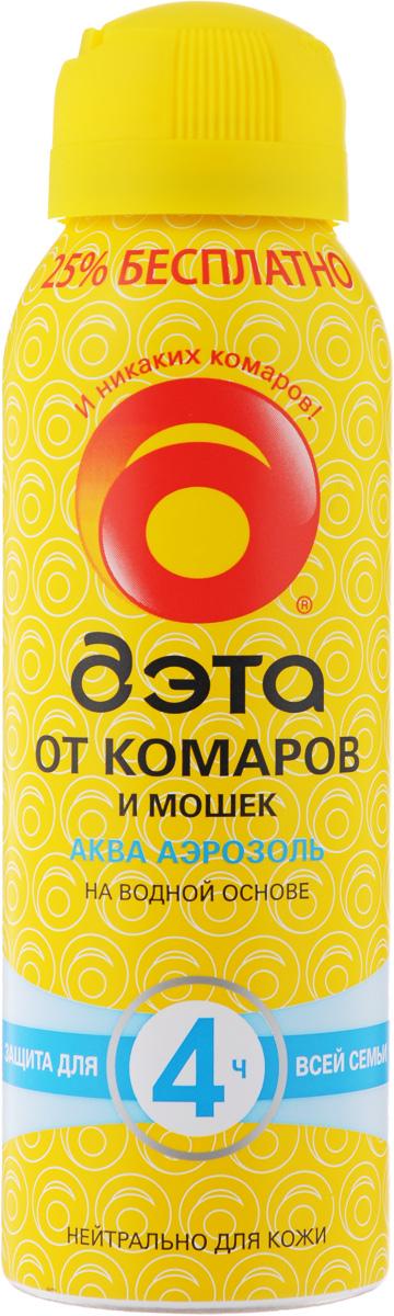 Аэрозоль от комаров и мошек Дэта Аква, 125 мл66707703Аэрозоль Дэта Аква обеспечивает надежную защиту от комаров, мошек, мокрецов и москитов в течение четырех часов. Удобная аэрозольная упаковка позволяет легко наносить средство на кожу и на одежду. Благодаря рецептуре на водной основе не сушит кожу. Не оставляет пятен. Не содержит спирт. Состав: 15% N,N-диэтил-m-толуамид, пропиленгликоль, глицерин, эмульгатор, масло пихты, отдушка, консервант, вода, пропеллент углеводородный. Товар сертифицирован.