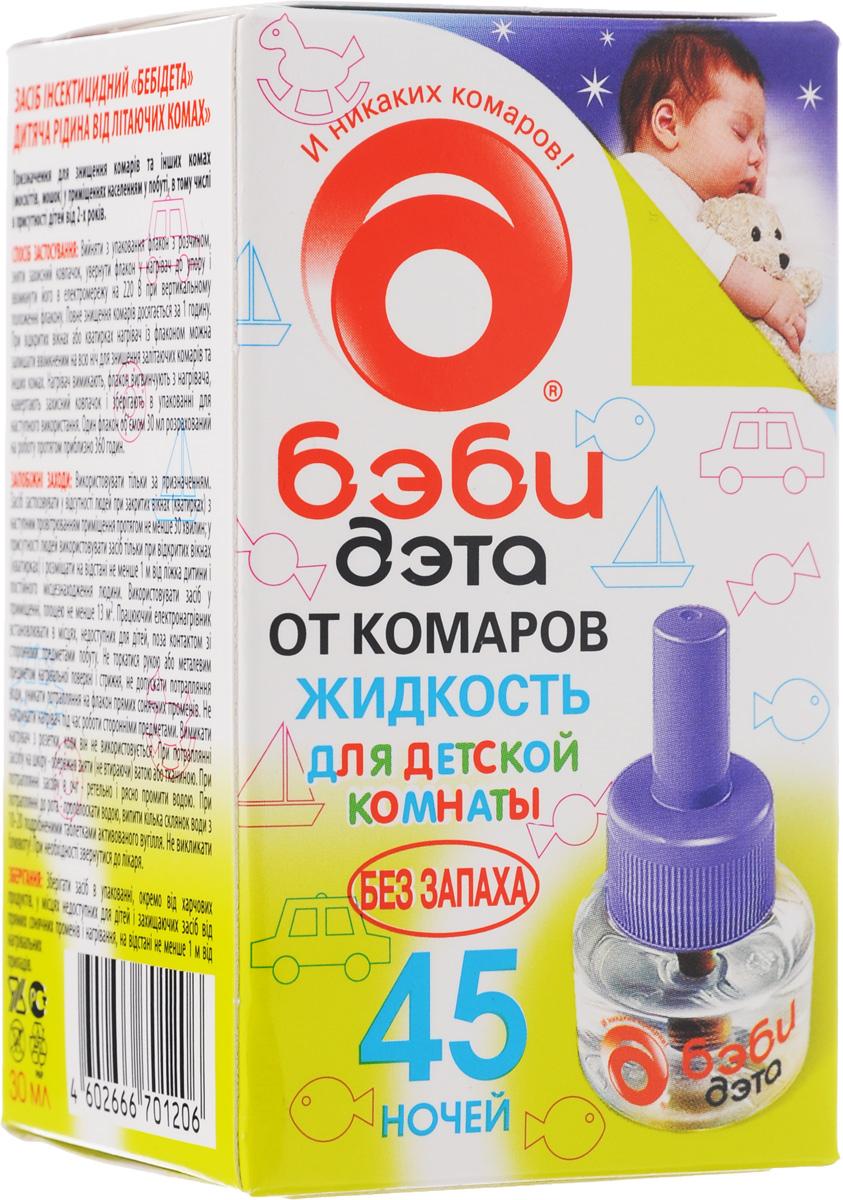 Жидкость от комаров Бэби Дэта, для детской комнаты, сменный флакон, 45 ночей, 30 мл66701206Жидкость Бэби Дэта незаменима для уничтожения комаров и других летающих насекомых (москитов, мошек) в детской комнате. Специально разработанная рецептура, без запаха, гарантирует безопасность и эффективность использования. Один флакон жидкости обеспечивает надежную защиту от комаров на протяжении 45 ночей даже при открытых окнах! Состав: 0,025% натуральные пиретрины, 0,1% трансфлутрин, 0,5% праллетрин, растворитель. Товар сертифицирован.