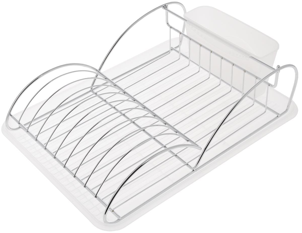 Сушилка для посуды Bekker Koch, с поддоном, 41 х 28 х 11,5 см. BK-5511BK-5511Сушилка для посуды Bekker Koch выполнена из высококачественной нержавеющей стали и пластика. Изделие представляет собой решетку с ячейками, в которые помещается посуда, и отделение для столовых приборов. Ваши тарелки высохнут быстро, если после мойки вы поместите их в легкую, яркую, современную сушилку. Размер сушилки: 41 х 28 х 11,5 см. Размер поддона: 43 х 32 х 2 см. Размер емкости под столовые приборы: 19 х 7 х 10 см.