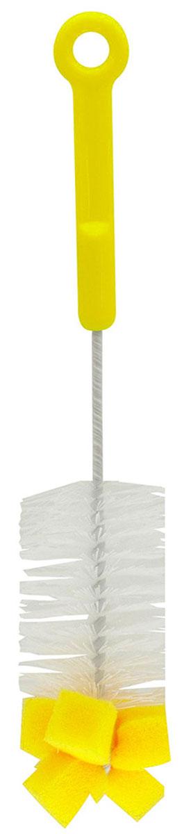 Lubby Ершик для бутылочек с губкой цвет желтый4543_желтыйЕршик для бутылочек Lubby станет незаменимым атрибутом ухода за детской посудой. Благодаря щетинкам из прочного нейлона и наконечнику с губкой, он легко очищает самые труднодоступные части детских бутылочек. Он также подходит для мытья фигурных бутылочек, термосов, стаканов и другой детской посуды.