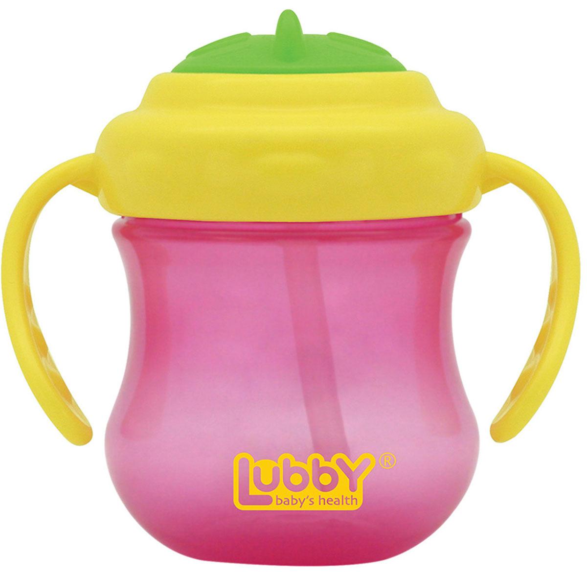 Lubby Поильник-непроливайка Mini Twist с трубочкой от 6 месяцев цвет розовый желтый 250 мл