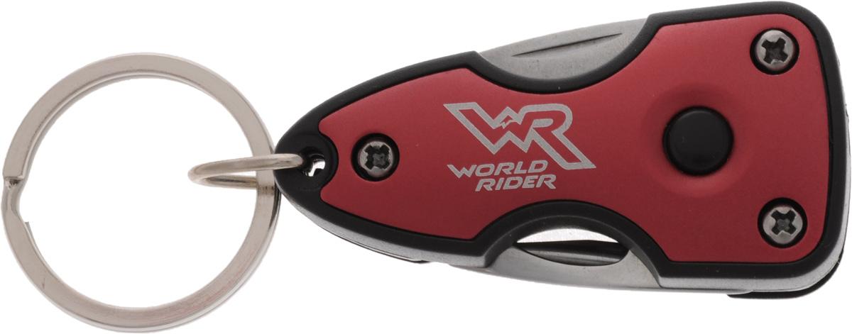 Нож многофункциональный World Rider, с фонариком, цвет: красный, стальнойWR 5003_красныйКомпактный многофункциональный нож World Rider в пластиковом корпусе - это стильный аксессуар, который дает возможность постоянно держать при себе инструменты на разные случаи жизни. Набор включает в себя яркий светодиодный фонарик, мощности которого достаточно, чтобы осветить автомобильный или дверной замок в темное время суток. Изделие оснащено удобным кольцом для крепления. Функции: нож, открывалка для бутылок, крестовая отвертка, шлицевая отвертка, яркий светодиодный фонарик. Длина в сложенном виде: 6 см. Длина в разложенном виде: 9,5 см. Длина лезвия ножа: 3,5 см.