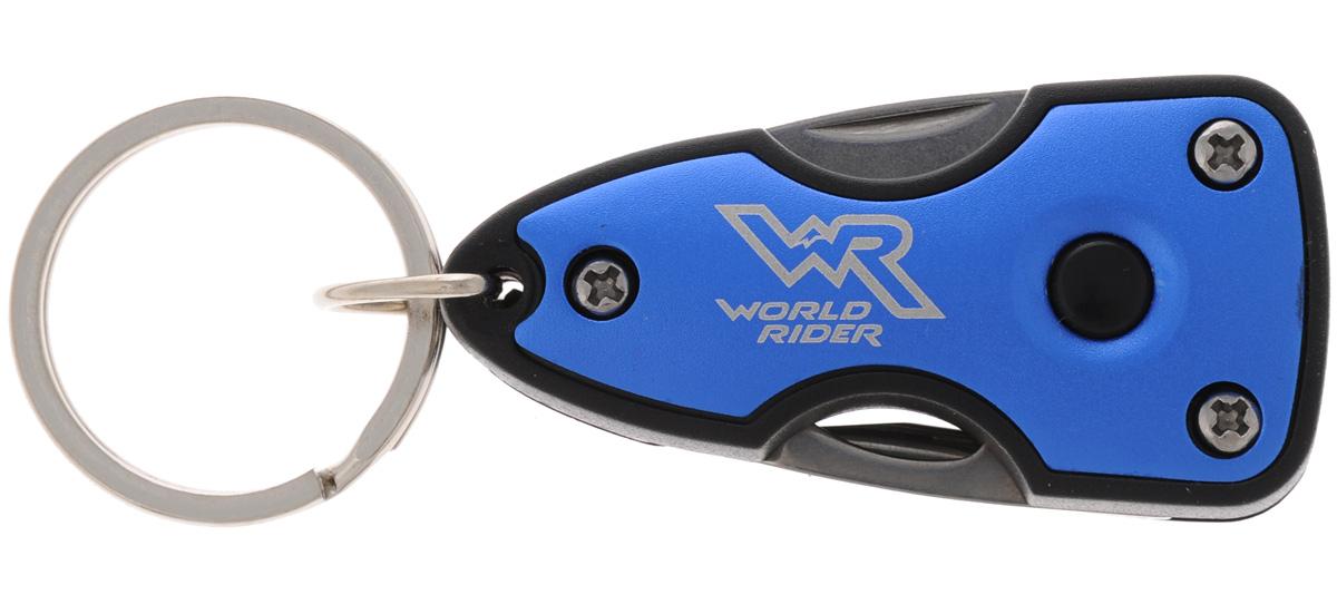 Нож многофункциональный World Rider, с фонариком, цвет: синий, стальнойWR 5003_синийКомпактный многофункциональный нож World Rider в пластиковом корпусе - это стильный аксессуар, который дает возможность постоянно держать при себе инструменты на разные случаи жизни. Набор включает в себя яркий светодиодный фонарик, мощности которого достаточно, чтобы осветить автомобильный или дверной замок в темное время суток. Изделие оснащено удобным кольцом для крепления. Функции: нож, открывалка для бутылок, крестовая отвертка, шлицевая отвертка, яркий светодиодный фонарик. Длина в сложенном виде: 6 см. Длина в разложенном виде: 9,5 см. Длина лезвия ножа: 3,5 см.