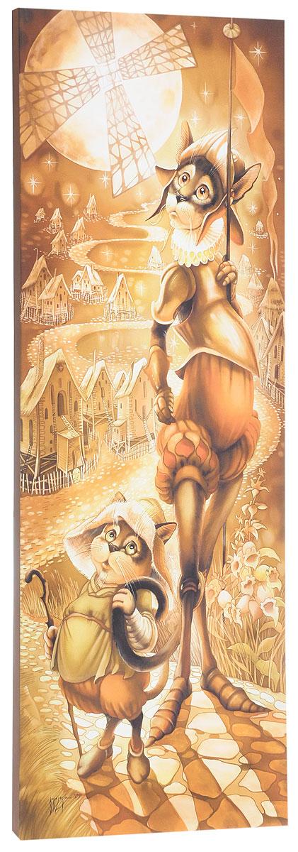 КвикДекор Картина детская Донкихот и СанчоAP-00808-00024-Cn2570Картина КвикДекор Донкихот и Санчо - это прекрасное украшение для вашей гостиной, детской или спальни. Она привнесет в интерьер яркий акцент и сделает обстановку комфортной и уютной. Автор картины - Надежда Соколова - родилась в 1973 году в городе Дрездене. В 1986-1990 годах училась в Художественной школе города Новгорода. В 1995 году окончила с отличием рекламное отделение Новгородского училища культуры. В 2000 году защитила диплом на факультете Искусств и Технологий НовГУ имени Ярослава Мудрого. Выставляется с 1996 года. Работает в техниках: живопись, графика, батик, лаковая миниатюра, авторская кукла. Является автором оригинального стиля в миниатюре. Изделие представляет собой картину с латексной печатью на натуральном хлопчатобумажном холсте. Галерейная натяжка на деревянный подрамник выполнена очень аккуратно, а боковые части картины запечатаны тоновой заливкой. Обратная сторона подрамника содержит отверстие, благодаря которому картину можно легко закрепить на стене и...