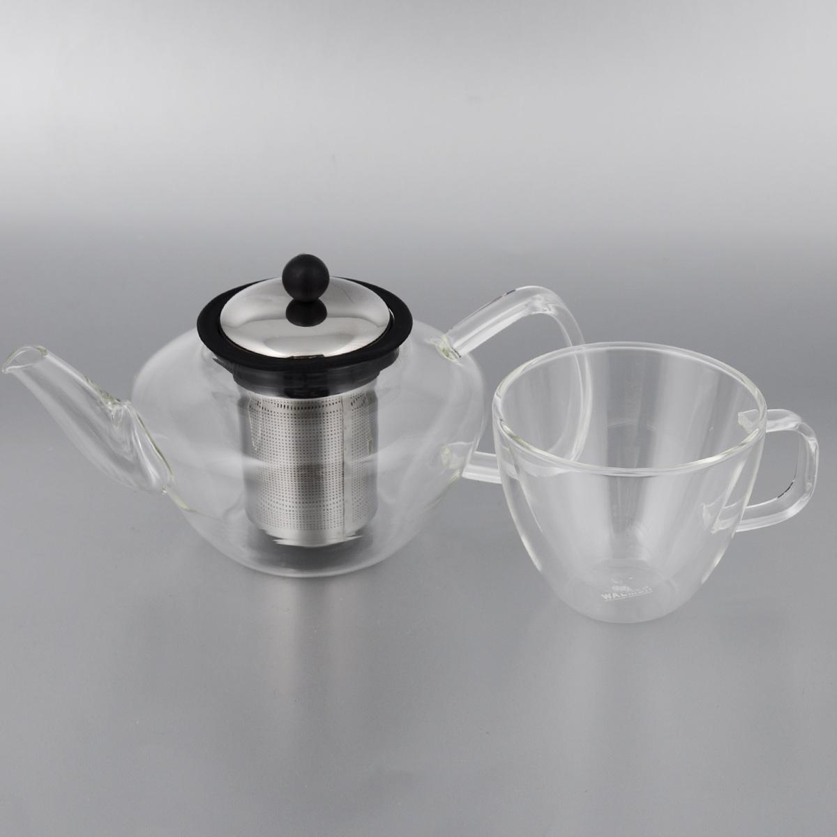 Набор чайный Walmer Lord, 2 предметаW03101060Чайный набор Walmer Lord состоит из кружки и заварного чайника, выполненных из высококачественного стекла, пластика и стали. Элегантный набор придется по вкусу и ценителям классики, и тем, кто предпочитает утонченность и изысканность. Он настроит на позитивный лад и подарит хорошее настроение с самого утра. Чайный набор Walmer Lord идеально подойдет для сервировки стола и станет отличным подарком к любому празднику. Можно мыть в посудомоечной машине. Объем кружки: 250 мл. Диаметр кружки (по верхнему краю): 10 см. Высота кружки: 8,5 см. Объем чайника: 600 мл. Диаметр чайника (по верхнему краю): 7,5 см. Высота чайника (без учета крышки): 10,5 см.