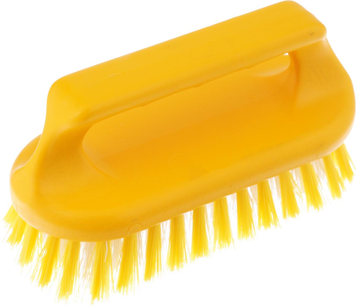 Щетка для ванны Хозяюшка Мила Сальвия, цвет: желтый, белый24006_желтый, белыйЩетка для ванны Хозяюшка Мила Сальвия, изготовленная из высокопрочного пластика, идеально подходит для снятия сильных загрязнений. Удобная ручка делает процесс чистки комфортным, а форма щетки позволяет хорошо чистить даже труднодоступные места. Щетина средней жесткости не повреждает поверхность. Длина щетины: 2,5 см.