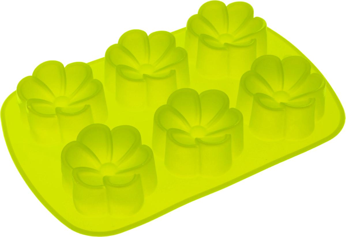 Форма для выпечки Mayer & Boch Цветочки, цвет: салатовый, 6 ячеек22076_салатовыйФорма для выпечки Mayer & Boch Цветочки изготовлена из высококачественного силикона. Стенки формы легко гнутся, что позволяет легко достать готовую выпечку и сохранить аккуратный внешний вид блюда. Форма имеет 6 ячеек в виде цветочков. Силикон - материал, который выдерживает температуру от -40°С до +230°С. Изделия из силикона очень удобны в использовании: пища в них не пригорает и не прилипает к стенкам, форма легко моется. Изделие обладает эластичными свойствами: складывается без изломов, восстанавливает свою первоначальную форму. Порадуйте своих родных и близких любимой выпечкой в необычном исполнении. Размер формы: 26,5 х 17,5 х 3,5 см. Количество ячеек: 6 шт. Диаметр ячейки: 7 см. Глубина ячейки: 3,5 см.