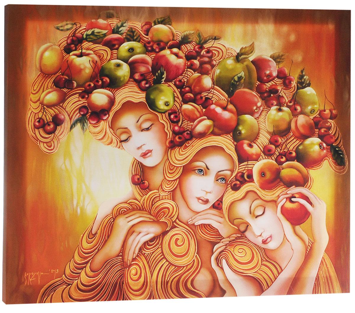 КвикДекор Картина детская Богини судьбыAP-00792-00008-Cn7060Картина КвикДекор Богини судьбы - это прекрасное украшение для вашей гостиной, детской или спальни. Она привнесет в интерьер яркий акцент и сделает обстановку комфортной и уютной. Автор картины - Надежда Соколова - родилась в 1973 году в городе Дрездене. В 1986-1990 годах училась в Художественной школе города Новгорода. В 1995 году окончила с отличием рекламное отделение Новгородского училища культуры. В 2000 году защитила диплом на факультете Искусств и Технологий НовГУ имени Ярослава Мудрого. Выставляется с 1996 года. Работает в техниках: живопись, графика, батик, лаковая миниатюра, авторская кукла. Является автором оригинального стиля в миниатюре. Изделие представляет собой картину с латексной печатью на натуральном хлопчатобумажном холсте. Галерейная натяжка на деревянный подрамник выполнена очень аккуратно, а боковые части картины запечатаны тоновой заливкой. Обратная сторона подрамника содержит отверстие, благодаря которому картину можно легко закрепить на стене и...