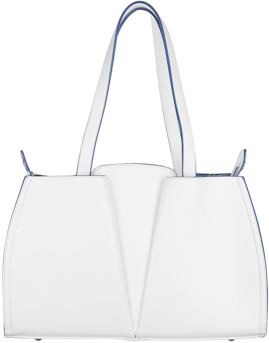 Сумка женская VelVet, цвет: белый. 589-061286-231589-061286-231Изысканная женская сумка VelVet выполнена из искусственной кожи. Сумка закрывается на замок-молнию. Удобные ручки крепятся к корпусу сумки. Внутри одно отделение. Вместительное внутреннее отделение содержит накладной карман для телефона и мелких принадлежностей. Внутри сумка также содержит специальный ремешок с крепежом для ключей. С двух сторон сумка оснащена глубокими карманами на магнитных кнопках. Дно дополнено металлическими ножками, защищающими изделие от повреждений. Модель выполнена в оригинальном дизайне, декорирована металлической фурнитурой. Сумка - это стильный аксессуар, который сделает ваш образ изысканным и завершенным. Классические формы и оригинальное оформление сумки подчеркнет ваше отменное чувство стиля.