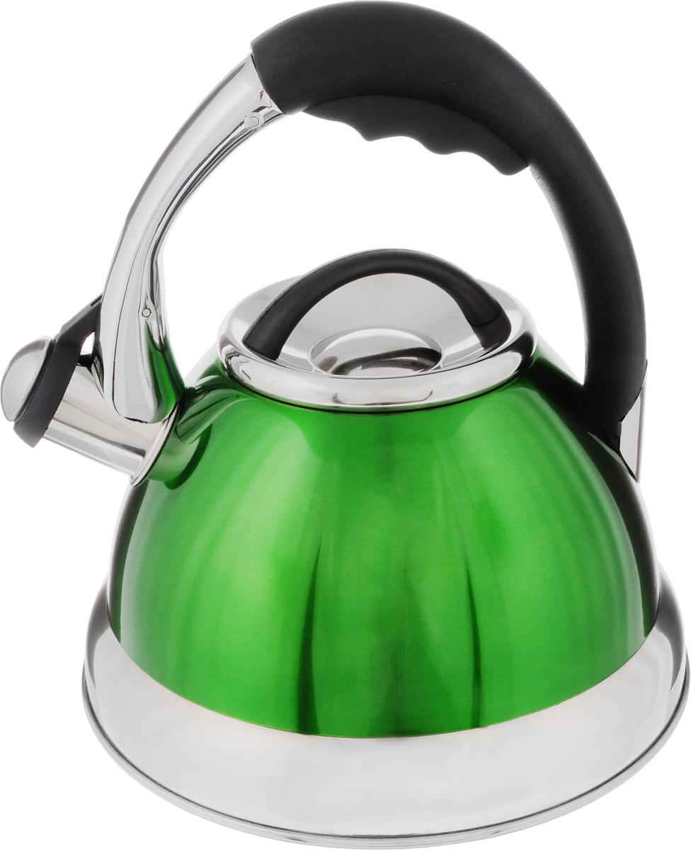 Чайник Mayer & Boch, со свистком, цвет: зеленый, черный, серебристый, 2,6 л. 39473947_зеленый, черный, серебристыйЧайник Mayer & Boch выполнен из нержавеющей стали высокой прочности. При кипячении сохраняет все полезные свойства воды. Весьма гигиеничен и устойчив к износу при длительном использовании. Гладкая и ровная поверхность существенно облегчает уход за посудой. Чайник оснащен кнопкой для открывания носика и свистком, который громко оповестит о закипании воды. Удобная эргономичная ручка выполнена из пластика. Такой чайник идеально впишется в интерьер любой кухни и станет замечательным подарком к любому случаю. Подходит для всех типов плит, включая индукционные. Можно мыть в посудомоечной машине. Диаметр чайника (по верхнему краю): 10 см. Высота чайника (с учетом ручки): 24 см. Высота чайник (без учета ручки и крышки): 12,5 см. Диаметр индукционного дна: 16 см.