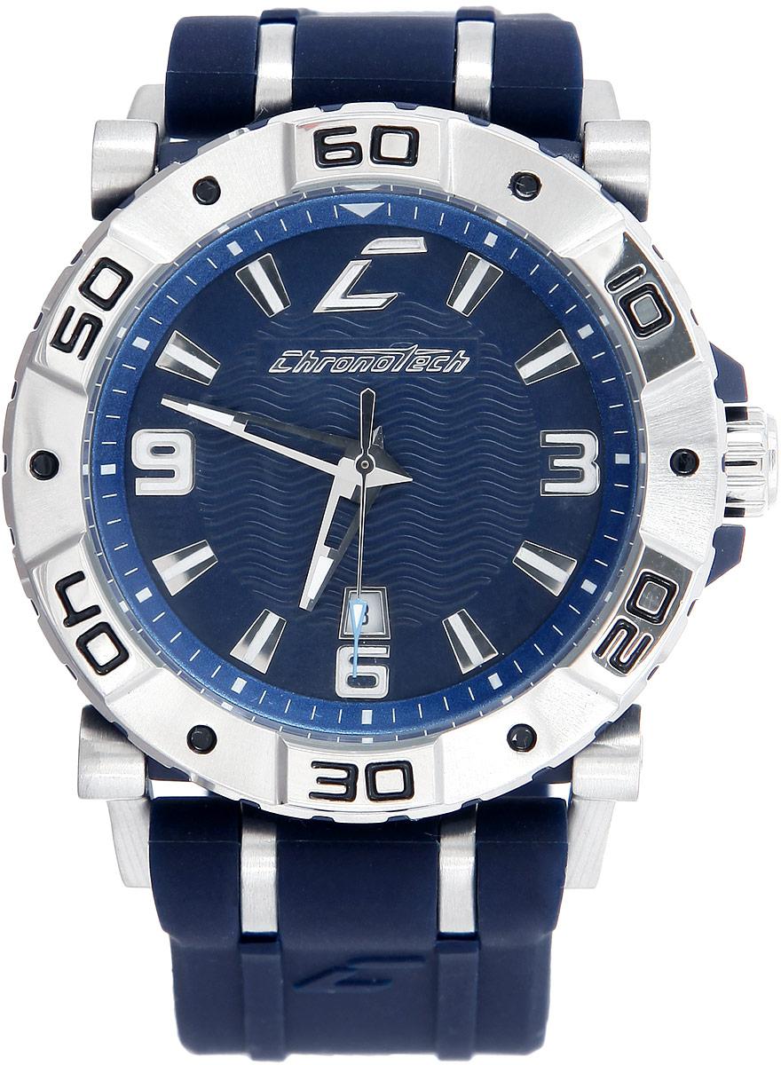 Часы наручные мужские Chronotech Next, цвет: синий. RW0039RW0039Стильные часы Chronotech Next, выполнены из нержавеющей стали, минерального стекла и каучука. Часы оформлены символикой бренда. Часы оснащены ударопрочным корпусом с кварцевым механизмом, имеют степень влагозащиты равную 5 BAR. Браслет часов оснащен застежкой-пряжкой, которая позволит с легкостью снимать и надевать изделие. Корпус часов оснащен стрелками с светящимся составом и дополнен индикатором даты. Часы поставляются в фирменной упаковке. Элегантные часы часы Chronotech Next подчеркнут отменное чувство стиля своего обладателя.