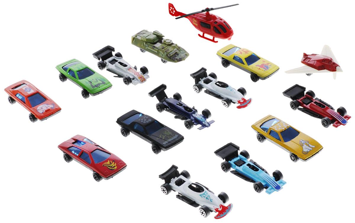 Shantou Набор машинок Motor Wheels 15 штB1233136Набор машинок Shantou Motor Wheels понравится любому мальчику. В набор входит 12 спортивных и гоночных автомобилей, а также БТР, вертолет, самолет. Каждая машинка имеет индивидуальную форму и раскраску. Машинки изготовлены из качественных и безопасных материалов. Имея такой автопарк, можно устраивать соревнования и гонки с друзьями. Благодаря разнообразию моделей и цветов скучать будет некогда.