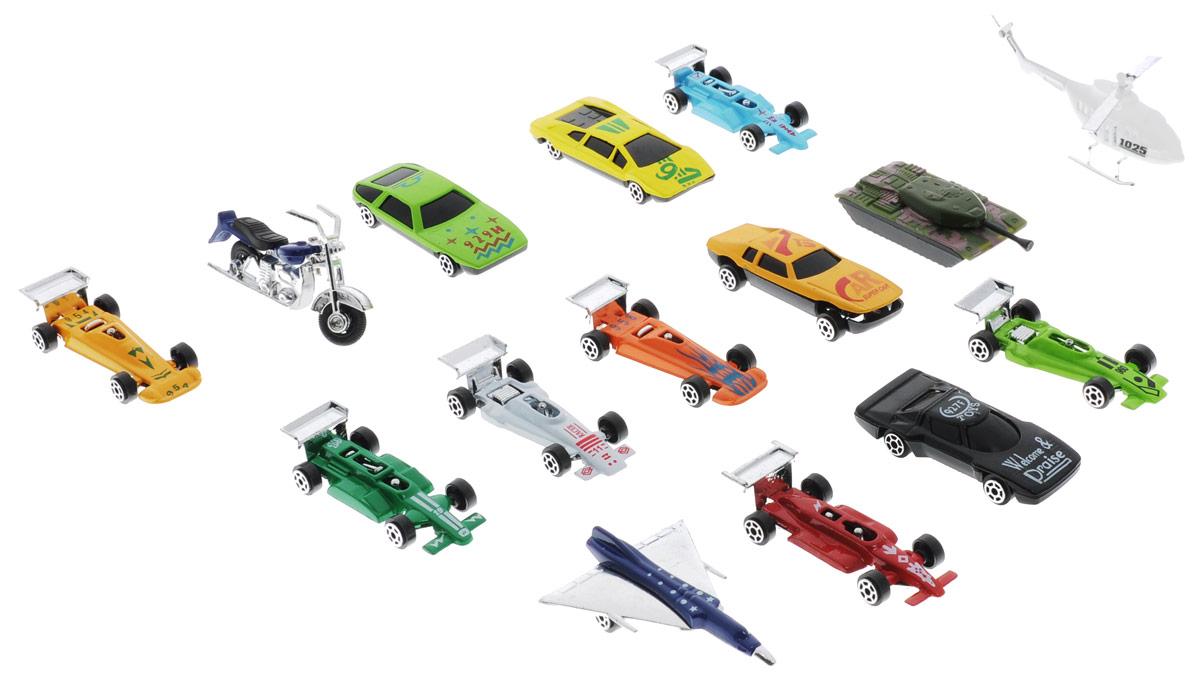 Shantou Набор машинок City Racer 15 штG100-H36055Набор машинок Shantou City Racer понравится любому мальчику. В набор входит 11 спортивных и гоночных автомобилей, а также танк, вертолет, самолет, мотоцикл. Каждая машинка имеет индивидуальную форму и раскраску. Машинки изготовлены из качественных и безопасных материалов. Имея такой автопарк, можно устраивать соревнования и гонки с друзьями. Благодаря разнообразию моделей и цветов скучать будет некогда.