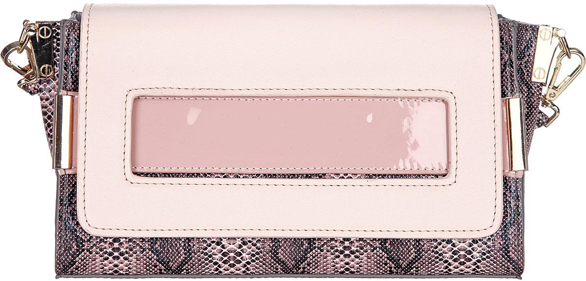 Сумка женская VelVet, цвет: бежевый, коричневый. 985-031286-172985-031286-172Изысканная женская сумка VelVet выполнена из искусственной кожи с тиснением под рептилию. Сумка закрывается клапаном на магнит. Внутри одно отделение. Вместительное внутреннее отделение содержит два накладных кармана для телефона и мелких принадлежностей и врезной карман на молнии. Снаружи на задней стенке сумки размещен вшитый карман на молнии. Сумка оснащена съемным плечевым ремнем регулируемой длины, который позволит носить изделие как в руках, так и на плече. Сумка выполнена в оригинальном дизайне, декорирована фурнитурой золотистого цвета. Практичная и стильная сумка прекрасно завершит ваш образ.