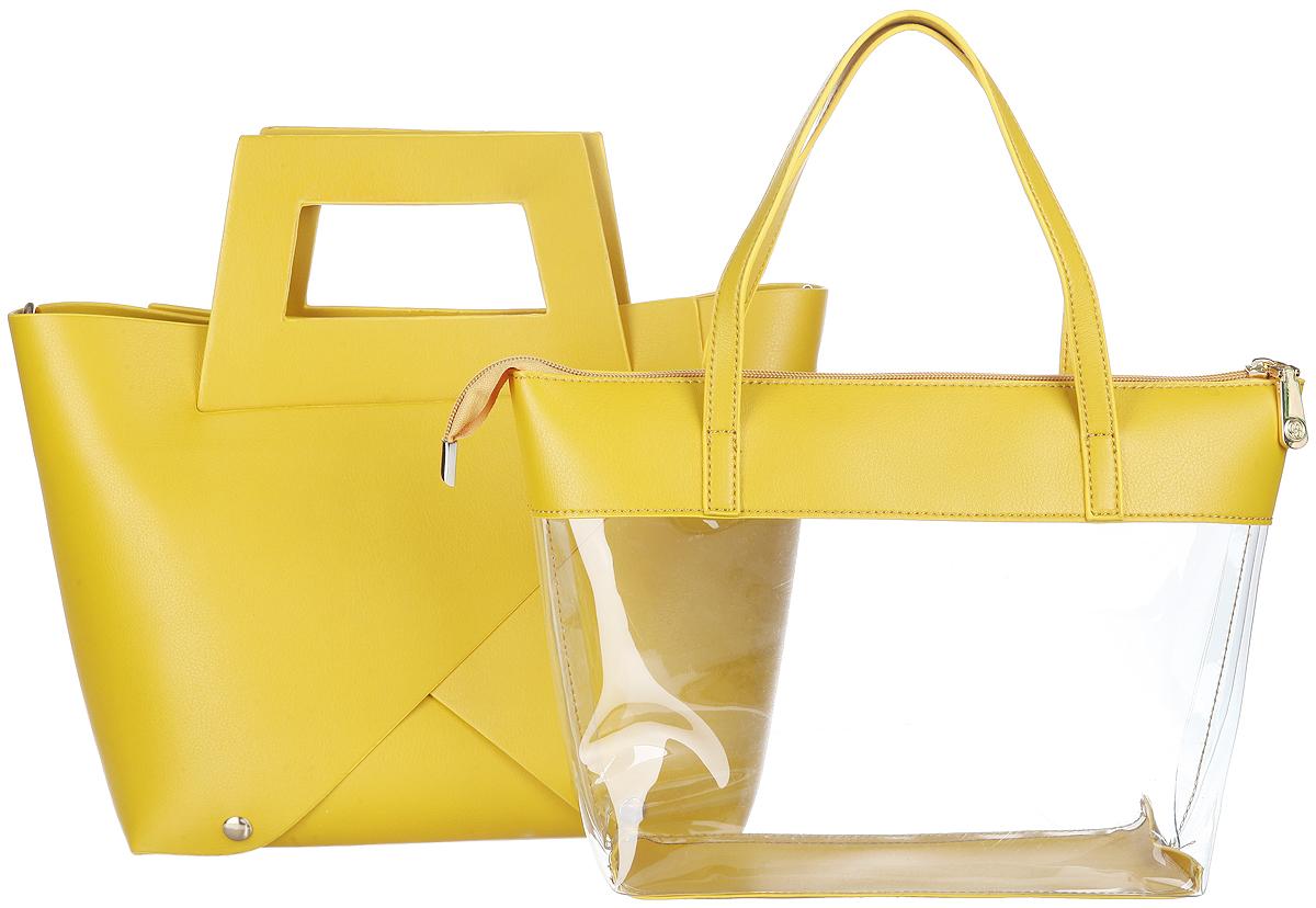 Сумка женская Calipso, цвет: желтый. 485-141286-231485-141286-231Стильная женская сумка Calipso выполнена из искусственной кожи, представляет собой комплект из двух сумок. Каждую сумку можно использовать как отдельный аксессуар. Внешняя модель выполнена в оригинальном дизайне, представляет собой сумку-трансформер, корпус которой крепиться на кнопки, имеет удобные врезные ручки. Модель оснащена съемным плечевым ремнем регулируемой длины, который позволит носить изделие как в руках так и на плече Внутренняя сумка выполнена из прозрачного материала, дополнена вставками из искусственной кожи. Модель закрывается на замок-молнию и оснащена удобными ручками. Практичная и стильная сумка прекрасно завершит ваш образ.