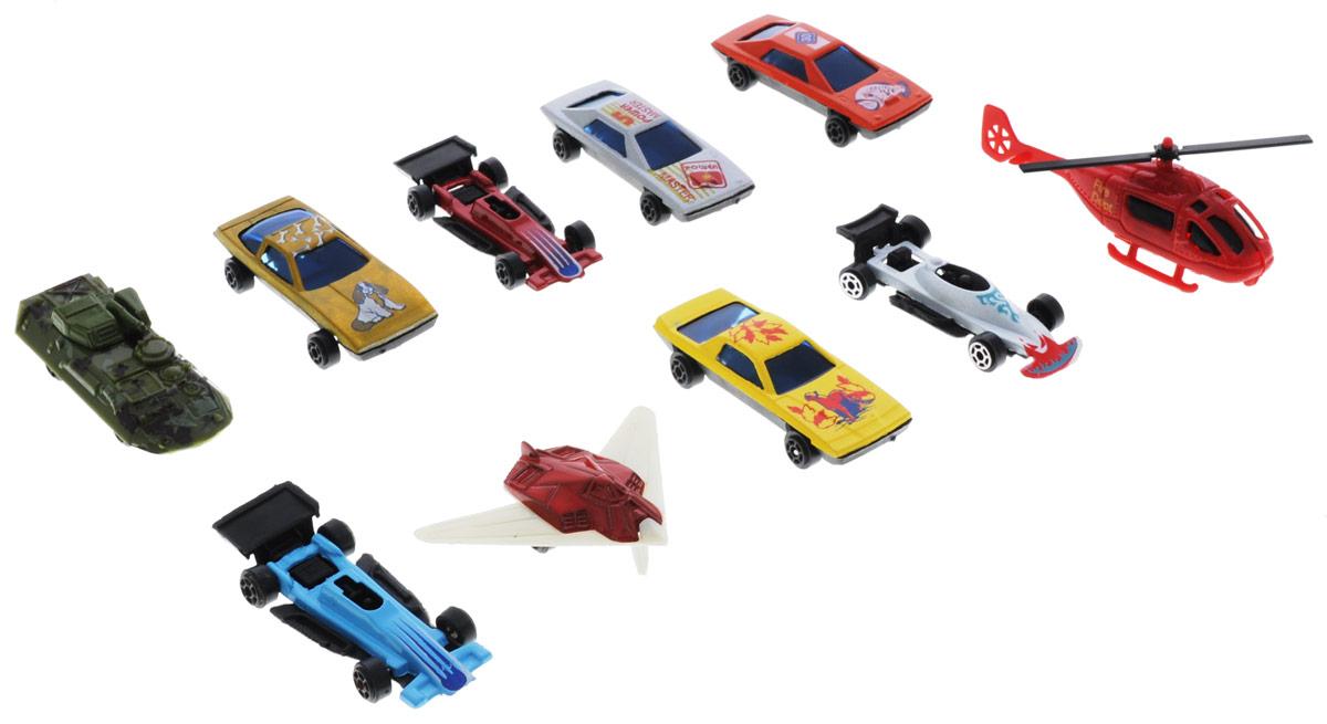 Shantou Набор машинок Motor Wheels 10 штB1233134Набор машинок Shantou Motor Wheels понравится любому мальчику. В набор входит 7 спортивных и гоночных автомобилей, а также БТР, вертолет и самолет. Каждая машинка имеет индивидуальную форму и раскраску. Машинки изготовлены из качественных и безопасных материалов. Имея такой автопарк, можно устраивать соревнования и гонки с друзьями. Благодаря разнообразию моделей и цветов скучать будет некогда.