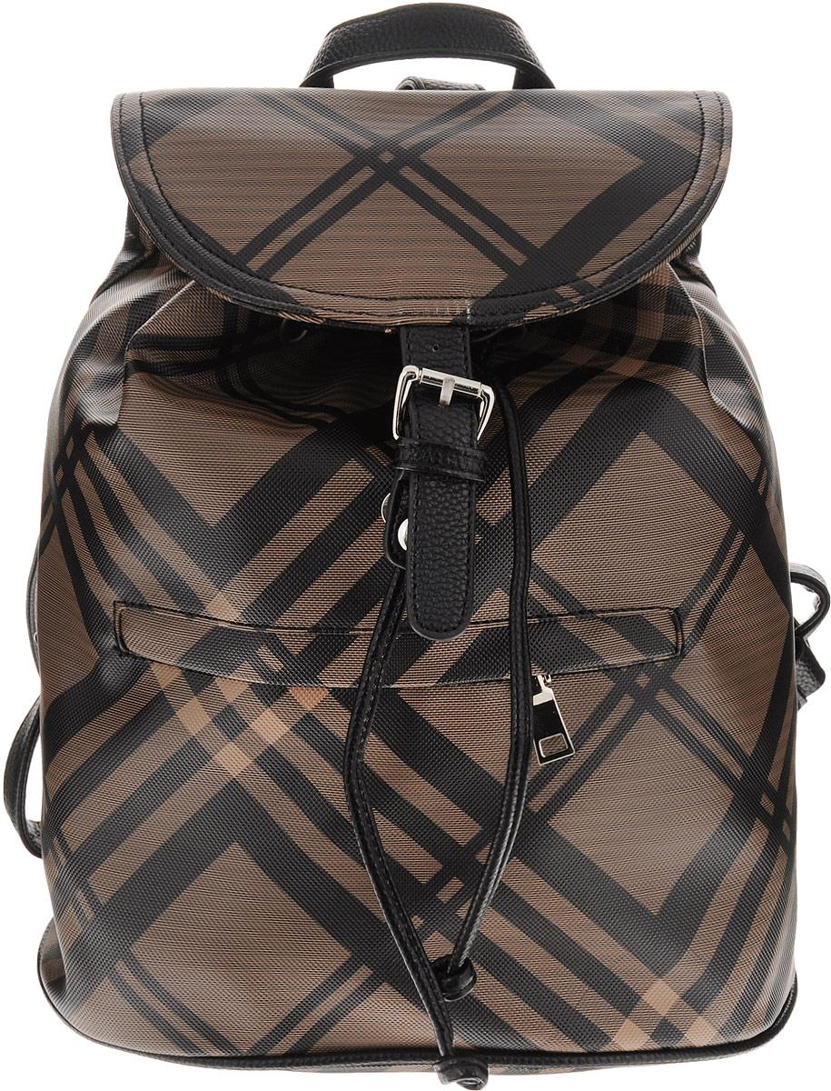 Рюкзак женский OrsOro, цвет: коричневый, черный. D-239/1D-239/1Рюкзак на затяжках с клапаном, одно отделение, один передний карман на молнии, два внутренних кармана один из них на молнии, карман для телефона, задний карман на молнии.