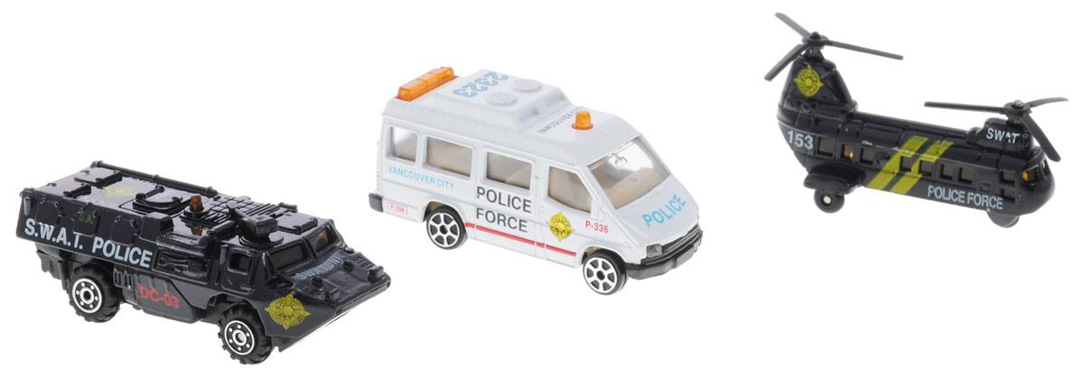 Pro-Engine Набор машинок Police Force 3 штPT2007 (96)Набор машинок Pro-Engine Police Force понравится любому мальчику. В набор входит полицейский фургон, броневик и вертолет. Игрушки изготовлены из качественных и безопасных материалов с высокой степенью детализации. С таким набором малыш сможет устраивать масштабные полицейские погони за опасными преступниками.