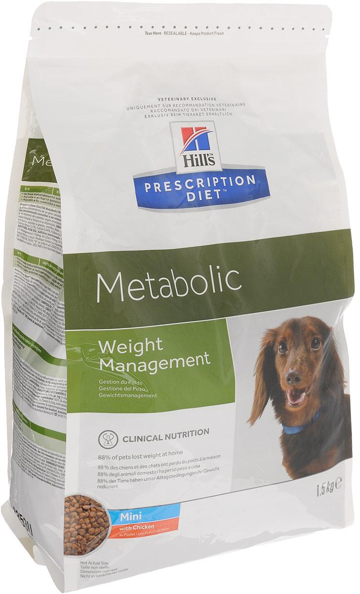Корм сухой диетический Hills Metabolic для собак мелких пород, для коррекции веса, с курицей, 1,5 кг39111_новый дизайн/3353UСухой диетический корм Hills Metabolic - полноценный диетический рацион для собак мелких пород, предназначенный для снижения избыточной массы тела и поддержания оптимального веса. Данный рацион обладает пониженной энергетической ценностью. Рацион для снижения и поддержания веса позволяет избежать повторного набора веса после прохождения программы по снижению веса. - Клинически доказанное снижение жировой массы на 28%. - Отличный вкус понравится вашему питомцу. Состав: злаки, производные растительного происхождения, мясо и производные животного происхождения, экстракты растительного белка, овощи, масла и жиры, семена, фрукты, минералы. Анализ: белок 26%, жир 11,3%, клетчатка 13,3%, зола 5,7%, кальций 0,84%, фосфор 0,62%, натрий 0,33%, калий 0,74%, магний 0,12%; на кг: витамин Е 657 мг, витамин С 122 мг, бета-каротин 2 мг. Добавки на кг: Е672 (витамин А) 27360 МЕ, Е671 (витамин D3) 1610 МЕ, Е1...