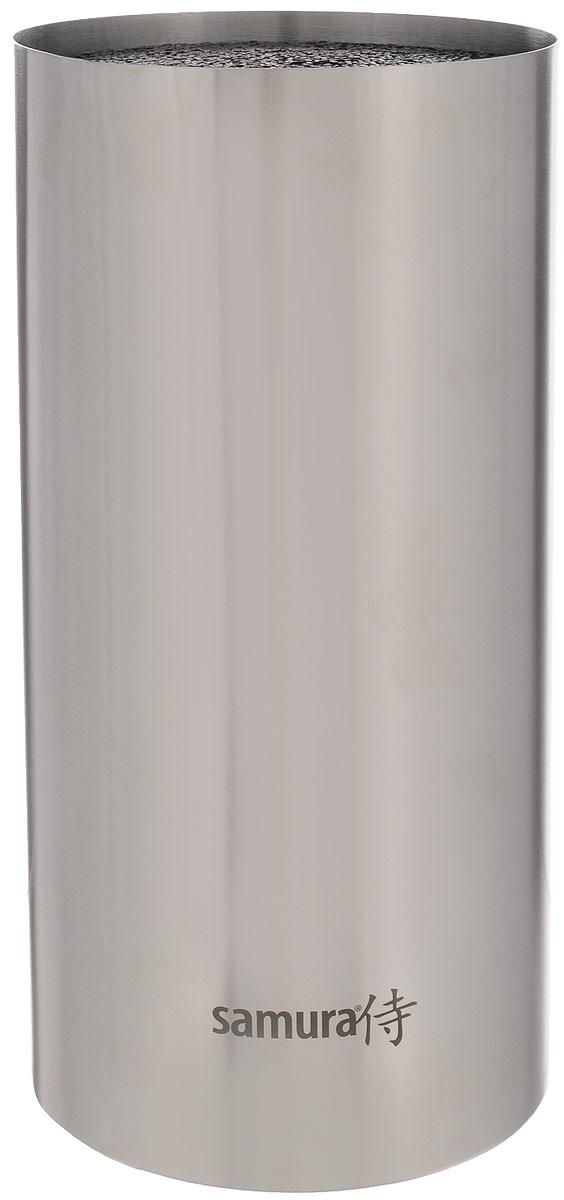 Подставка для ножей Samura Bamboo, высота 23 смKBA-100Подставка для ножей Samura Bamboo отлично дополнит интерьер вашей кухни. Легкий корпус выполнен из высококачественной нержавеющей стали. Наполнитель в виде пластиковой щетки гигиеничен и вынимается без труда. Лезвия ножей при хранении не касаются друг друга, тем самым максимально сохраняя свою остроту. Подставка вместительная (от 5 до 9 ножей), в зависимости от размера ножи в ней свободно помещаются. Благодаря 4 ножкам, изделие надежно размещается на столе. Такая подставка станет прекрасным подарком, а ее изящный дизайн станет украшением вашей кухни. Все гениальное просто! Можно мыть в посудомоечной машине. Высота подставки: 23 см. Диаметр подставки: 11,5 см.