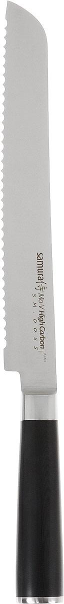 Нож для нарезки хлеба Samura Mo-V, длина лезвия 23 см. SM-0055/16SM-0055/16Нож для нарезки хлеба Samura Mo-V изготовлен из высокопрочной нержавеющей стали. Оптимальная твердость лезвия увеличивает его износостойкость. Эргономичная рукоятка выполнена из стеклопластика, благодаря чему она не сломается и не потеряет вид. Рукоятка удобно лежит в руках и делает резку удобной и безопасной. Благодаря длинному клинку и зубчатой режущей кромке нож позволит легко нарезать хлебобулочные изделия, не сминая их и не кроша сердцевину. Его острие опущено вниз, центр тяжести смещен вперед, что позволяет прикладывать меньше усилий при работе ножом. Такой нож займет достойное место среди аксессуаров на вашей кухне. Не рекомендуется мыть в посудомоечной машине. Общая длина ножа: 37 см.