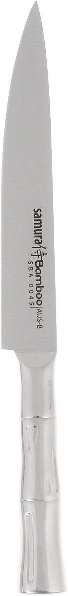 Нож для нарезки Samura Bamboo, длина лезвия 19,4 см. SBA-0045SBA-0045Нож для нарезки Samura Bamboo изготовлен из высококачественной нержавеющей стали. Эргономичная рукоятка с рельефным узором не скользит в руках и делает нарезку удобной и безопасной. Благодаря уникальной формуле стали и качеству ее обработки, лезвие имеет высокий показатель твердости, что позволяет ему долго сохранять острую заточку. Используйте кухонные ножи только на разделочной доске из дерева или пластика (стеклянные доски способны затупить любую сталь). Нож предназначен для нарезки филе, фруктов и других продуктов. Такой нож займет достойное место среди аксессуаров на вашей кухне. Можно мыть в посудомоечной машине. Длина ножа: 32 см.