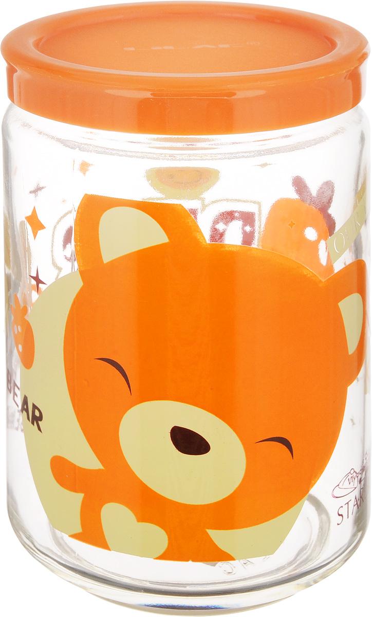 Банка для сыпучих продуктов Lilac Bear, 600 мл32865419,LLS4600_прозрачный, оранжевыйБанка Lilac Bear, изготовленная из стекла, снабжена пластиковой крышкой, которая плотно и герметично закрывается, дольше сохраняя аромат и свежесть содержимого. Изделие подходит для хранения сыпучих продуктов: круп, специй, сахара, соли и многого другого. Такая банка станет полезным приобретением и пригодится на любой кухне. Диаметр (по верхнему краю): 8 см. Высота (с учетом крышки): 13,5 см.
