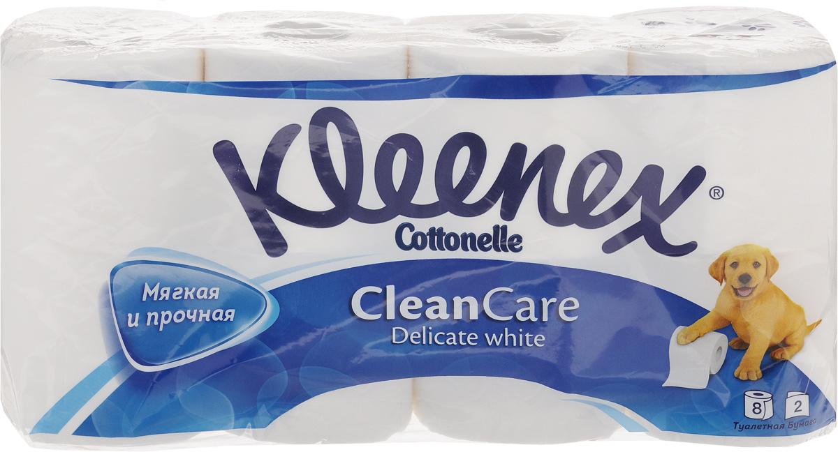 Туалетная бумага Kleenex Delicate White, двухслойная, цвет: белый, 8 рулонов9450008Двухслойная туалетная бумага Kleenex Delicate White изготовлена из целлюлозы высшего качества. Листы белого цвета имеют рисунок с тиснением в виде собачек. Мягкая, нежная, но в тоже время прочная, бумага не расслаивается и отрывается строго по линии перфорации.