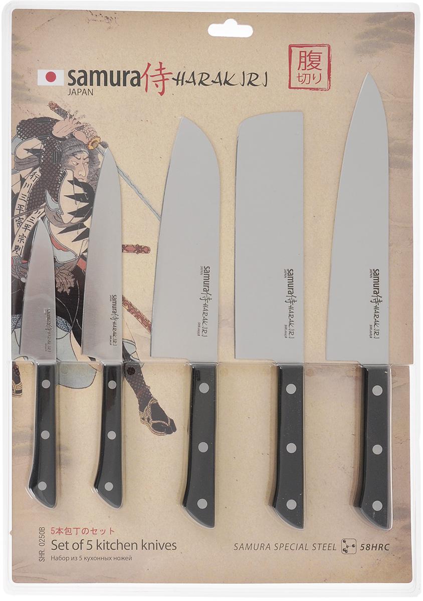 Набор ножей Samura Harakiri, 5 предметовSHR-0250BНабор Samura Harakiri состоит из овощного, универсального, поварского (Шефа), Сантоку и Накири ножей. Лезвия изделий выполнены из высокотехнологичной коррозионностойкой стали. Эргономичные рукоятки изготовлены из пищевого пластика. Двусторонняя заточка острых ножей Samura Harakiri на водных камнях привлекает своим удобством не только европейцев, но и самих японцев. Легкий вес, оптимальный баланс формы и содержания ложится под любую руку. Длина лезвия овощного ножа: 99 см. Общая длина овощного ножа: 21 см. Длина лезвия универсального ножа: 15 см. Общая длина универсального ножа: 26 см. Длина лезвия шеф-ножа: 20,8 см. Общая длина шеф-ножа: 33 см. Длина лезвия ножа сантоку: 17,5 см. Общая длина ножа сантоку: 29 см. Длина лезвия ножа накири: 18 см. Общая длина ножа накири: 30 см.