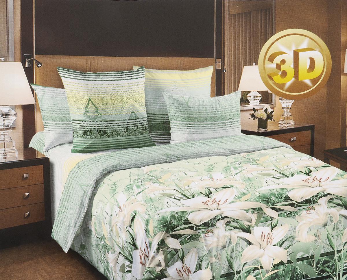 Комплект белья 3D ТексДизайн Луиза, евро, наволочки 70х70, цвет: зеленый, белый, желтый4250ПКомплект постельного белья ТексДизайн Луиза является экологически безопасным для всей семьи, так как выполнен из перкаля премиум класса - экологически чистой ткани на основе натурального хлопка. Комплект состоит из пододеяльника, простыни и двух наволочек. Постельное белье оформлено ярким рисунком цветов с эффектом 3D и имеет изысканный внешний вид. Перкаль - это тонкая и легкая хлопчатобумажная ткань высокой плотности полотняного переплетения, сотканная из пряжи высоких номеров. При изготовлении перкаля используются длинноволокнистые сорта хлопка, что обеспечивает высокие потребительские свойства материала. Перкаль очень шелковистая и мягкая на ощупь ткань, нежная и тонкая, но при этом удивительно прочная. Несмотря на свою утонченность, перкаль очень практичен - это одна из самых износостойких тканей для постельного белья. Королевское искушение - коллекция постельного белья, которое открывает для вас волшебный мир...