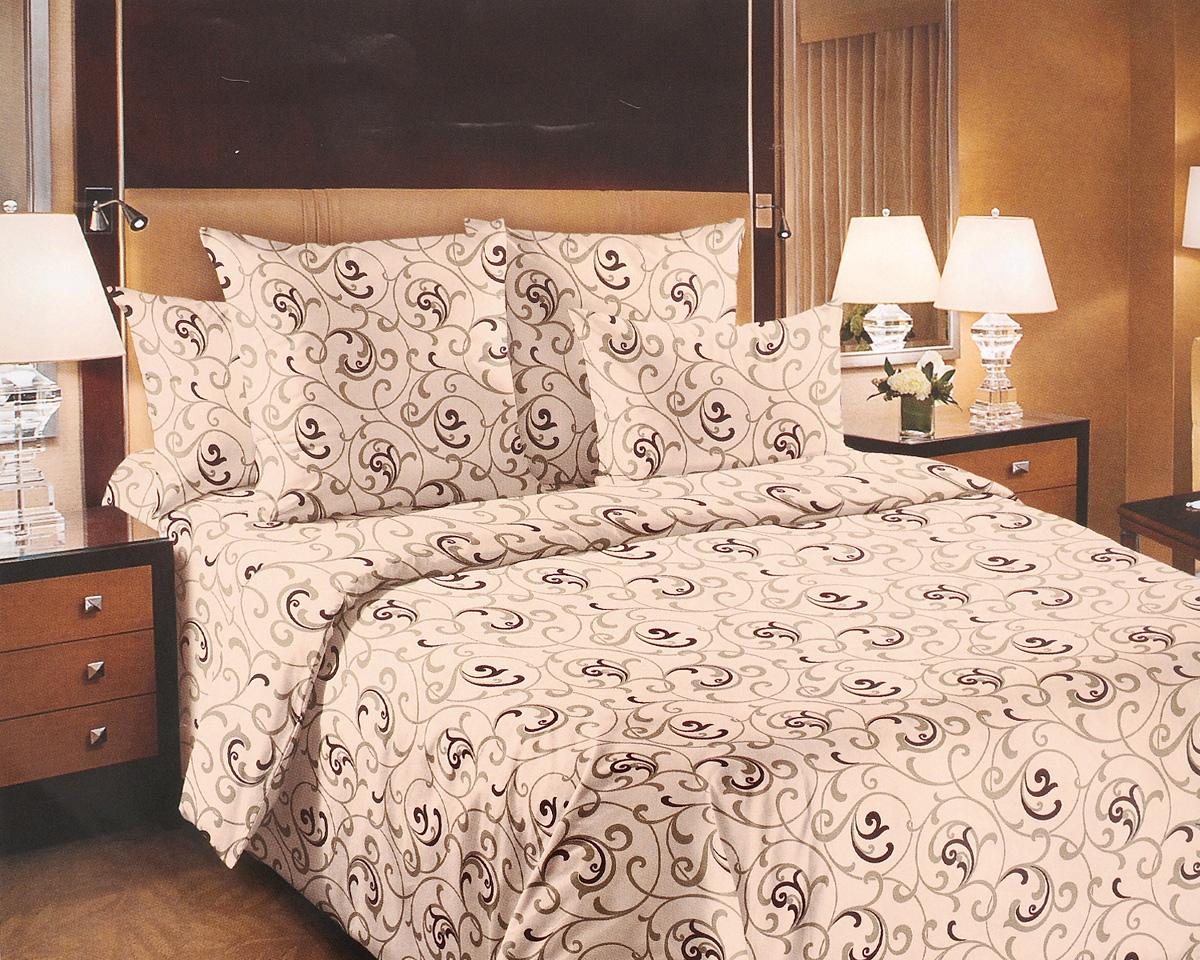 Комплект белья ТексДизайн Вензель, 1,5-спальный, наволочки 70х70, цвет: бежевый, коричневый1200ПКомплект постельного белья ТексДизайн Вензель изготовлен из перкаля (100% хлопка) наивысшего класса. Изделие из перкали плотное и с матовой поверхностью, очень прочное в обращении и своим видом наполняет любую спальню мягкостью и уютом. Перкаль не дает проходить перьям и пуху, что является хорошим свойством для пошива комплектов постельного белья, а из-за своей толщины и износостойкости из этого материала шьются парашюты и паруса. Практичное и нежное постельное белье ТексДизайн Вензель всегда будет кстати в вашем доме.