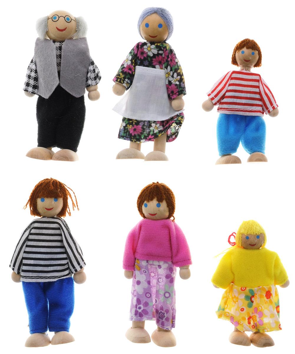 Мир деревянных игрушек Набор кукол Игрушки из дереваД 276Набор кукол Игрушки из дерева включает 6 кукол: маму и папу, мальчика и девочку, бабушку и дедушку. Куклы выполнены из высококачественного натурального дерева и одеты в яркие костюмы. При оформлении кукол использовались стойкие абсолютно безопасные краски на водной основе. Игра с куклами способствует развитию у малышей мелкой моторики рук, воображения, повышает способность мыслить, создавать новые образы и фантазировать, способствует развитию социальных навыков, побуждает ребенка исследовать и понимать окружающий мир. Деревянные детали набора гладко отшлифованы, без заусениц, заноз и сучков. Данный качественный продукт из отечественного дерева отличает характерный аромат натуральной древесины. Продукт экологичен, полностью отсутствуют химические добавки. Характеристики: Материал: дерево, текстиль. Средняя высота куклы: 11,5 см. Размер упаковки: 25,5 см x 30,5 см x 4 см.