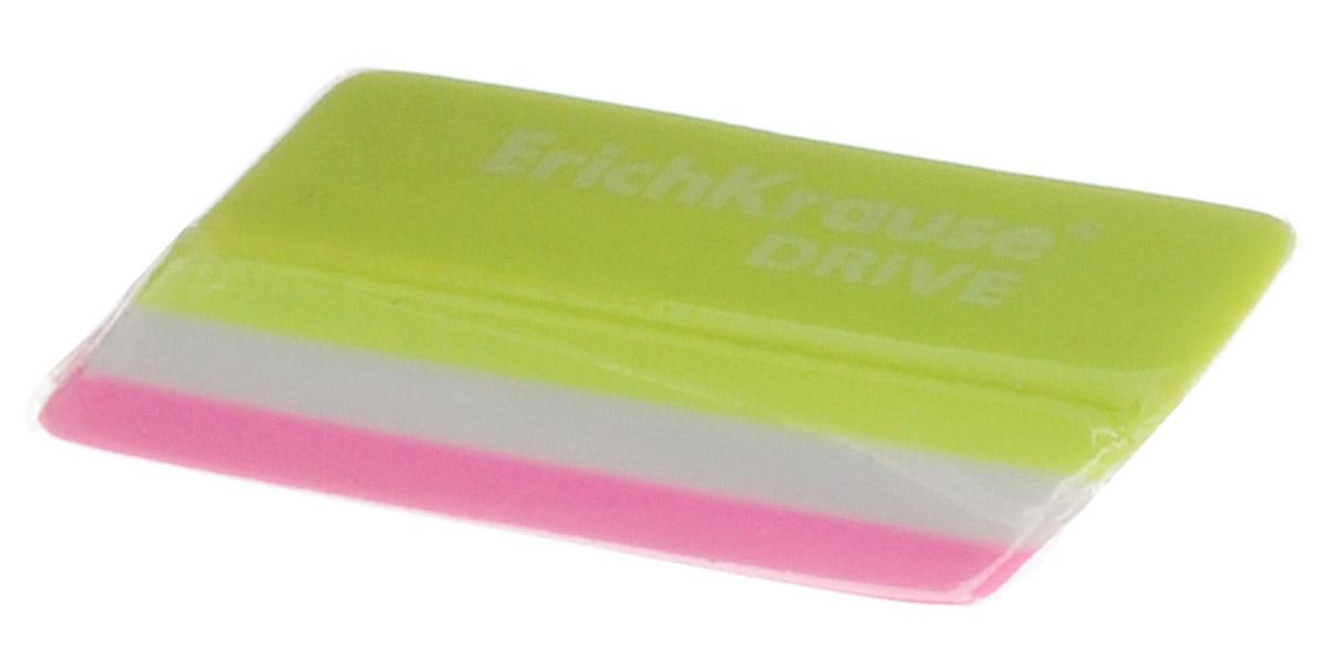 Erich Krause Ластик Drive цвет салатовый белый розовый35779_салатовый,белый,розовыйЛастик Erich Krause Drive станет незаменимым аксессуаром на рабочем столе не только школьника или студента, но и офисного работника. Ластик ярких цветов имеет форму прямоугольника со скошенными краями. При стирании стружка от ластика скатывается в единый комок, а не рассыпается по всей поверхности бумаги.