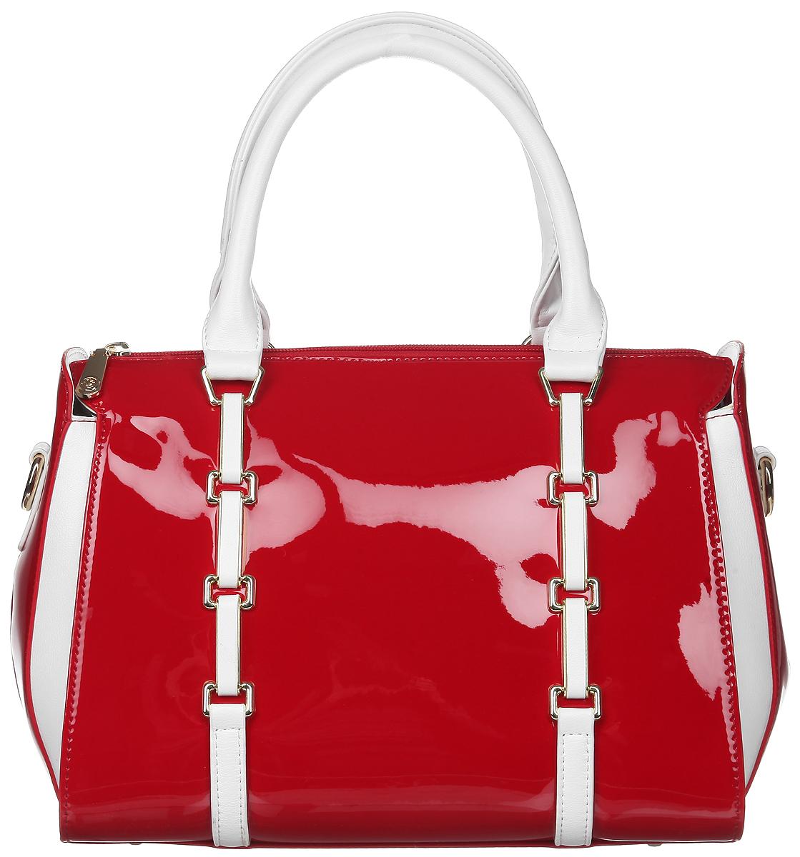Сумка женская Calipso, цвет: красный, белый. 800-041286-172800-041286-172Стильная женская сумка Calipso, выполненная из искусственной лакированной кожи, дополнена вставками из искусственной кожи с фактурным тиснением. Изделие имеет одно основное отделение, закрывающееся на застежку-молнию. Внутри находятся прорезной карман на застежке-молнии, два накладных открытых кармана и накладной открытый карман с отделением на застежке-молнии. Снаружи, на задней стенке расположен прорезной карман на застежке-молнии. Модель оснащена двумя удобными ручками. В комплект входит съемный регулируемый наплечный ремень. Основание изделия защищено от повреждений металлическими ножками. Роскошная сумка внесет элегантные нотки в ваш образ и подчеркнет ваше отменное чувство стиля.
