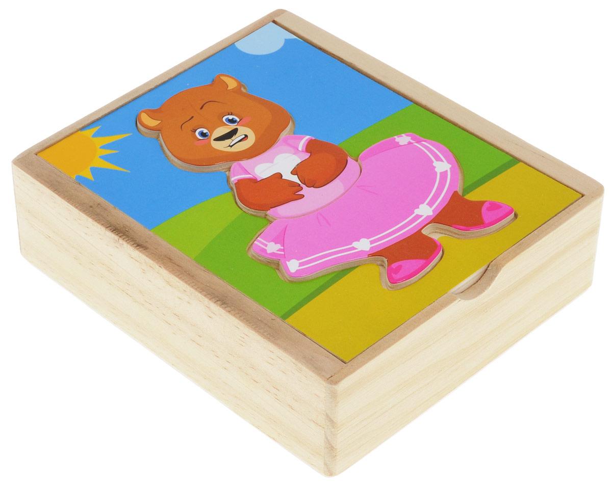 Мир деревянных игрушек Пазл Медвежонок КатяД181аДеревянный пазл Медвежонок Катя понравится вашему ребенку и займет его внимание надолго. Деревянный пазл состоит из картинки-основы и 18 элементов пазла. На картинке-основе расположено углубление в форме фигурки медвежонка, на котором малыш сможет собирать Катю таким, как подскажет ему фантазия. Ваш ребенок будет часами играть с пазлом. Порадуйте своего малыша таким замечательным подарком! Характеристики: Высота готовой фигурки: 11,5 см. Размер картинки-основы: 11,5 см х 13 см х 0,5 см. Размер пенала: 12 см х 14 см х 4 см.