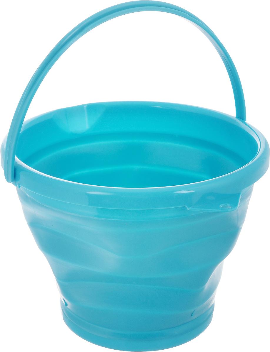 Ведро складное Коллекция, цвет: голубой, 10 лОСВД-10Складное ведро Коллекция изготовлено из термопластичной резины и пластика. Благодаря гибкости и пластичности материала, ведро легко складывается и раскладывается. В сложенном состоянии занимает минимум места. Пластиковые вставки отлично держат форму изделия. Ведро прекрасно подходит для хранения различных бытовых вещей и других предметов. Для удобной переноски имеется ручка. Такое практичное и функциональное ведро пригодится в любом хозяйстве. Высота в сложенном виде: 5 см.