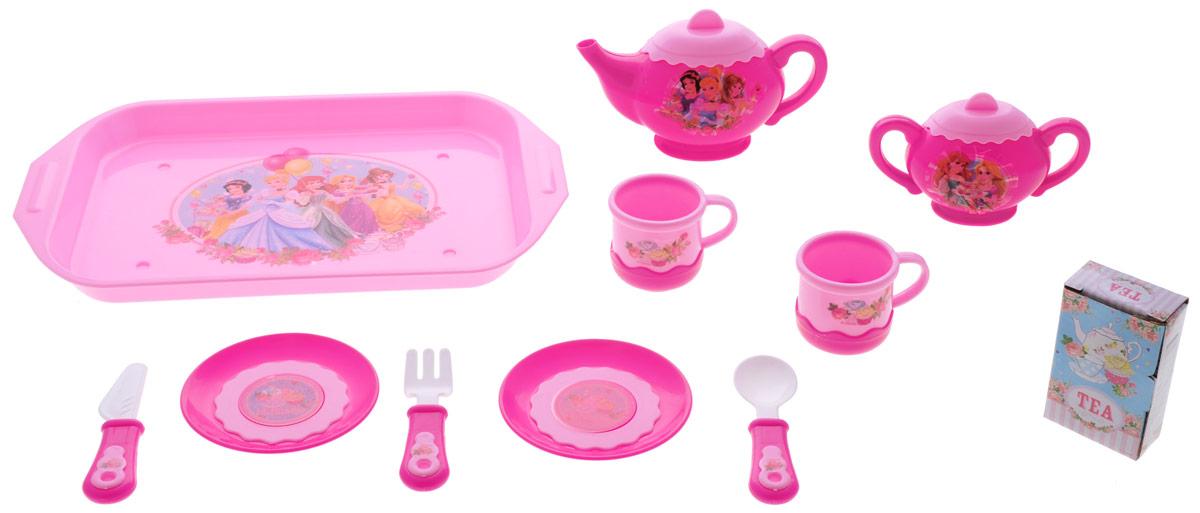 Играем вместе Набор посуды Принцессы 11 предметовNF2872-R1Набор детской посуды Играем вместе Принцессы, изготовленный из пластика с изображением диснеевских принцесс, привлечет внимание вашей малышки и не позволит ей скучать. В набор входят 2 чашки, 2 блюдца, чайник, поднос, сахарница, упаковка чая, вилка, ложка, нож. С таким набором ваша маленькая хозяйка сможет угостить чаем все свои игрушки! Порадуйте свою малышку этим замечательным набором!