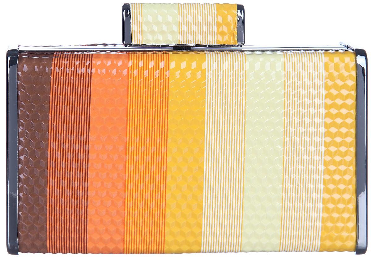 Клатч Calipso, цвет: коричневый, оранжевый, желтый, белый. 004-131287-352004-131287-352Изысканная женская сумка-клатч от Calipso выполнена из искусственной кожи с оригинальным ярким геометрическим принтом и тиснением под соты. Клатч закрывается на металлический рамочный замок при помощи защелки. Внутри одно отделение. К клатчу прилагаются отстегивающиеся металлические цепочки, позволяющие носить изделие в руке или на плече. Этот стильный аксессуар станет изысканным дополнением к вашему образу.
