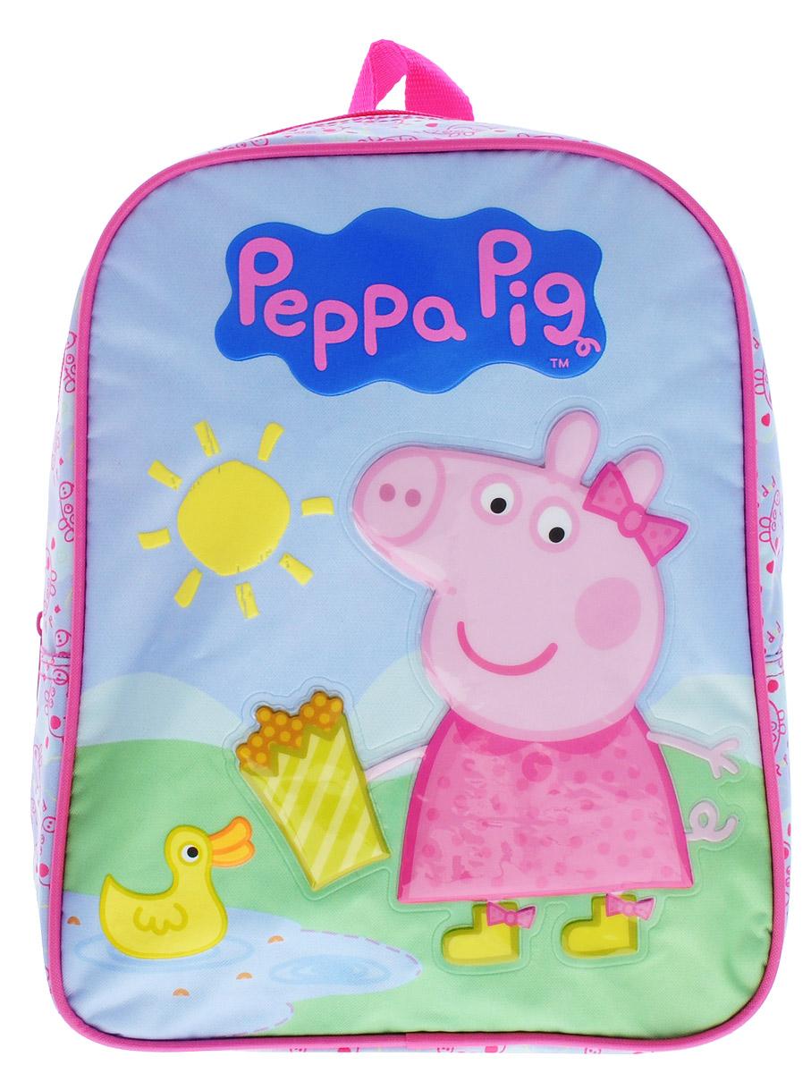 Peppa Pig Рюкзак дошкольный средний Утка30074Средний дошкольный рюкзак Peppa Pig Утка обязательно понравится каждой любительнице популярного мультфильма про Свинку Пеппу. Рюкзак выполнен из прочного полиэстера и украшен изображением свинки Пеппы (аппликация PVC), кормящей уточку в пруду (сублимированная печать и пафф-принтинг). Рюкзак имеет одно отделение на молнии, широкие мягкие регулируемые лямки и специальную ручку для размещения на вешалке. Износостойкая ткань с водоотталкивающей пропиткой сохранит содержимое рюкзака сухим. Порадуйте свою малышку таким замечательным подарком!