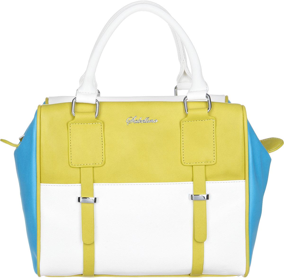 Сумка женская Sabellino, цвет: желтый, белый, голубой. ЖС1510810_30ЖС1510810_30Стильная женская сумка Sabellino выполнена из экокожи контрастных цветов. Лицевая сторона оформлена декоративными ремешками. Изделие имеет одно основное отделение, которое закрывается на застежку-молнию. Внутри находятся два накладных открытых кармана и прорезной карман на застежке-молнии. Снаружи, на задней стенке распложен прорезной карман на застежке-молнии. Изделие оснащено двумя удобными ручками. Такая сумка внесет элегантные нотки в ваш образ и подчеркнет ваше отменное чувство стиля.