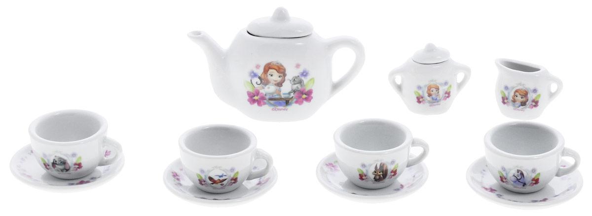 Играем вместе Набор посуды София Прекрасная 11 предметовCH0034-R1Набор детской посуды Играем вместе София Прекрасная, изготовленный из качественной керамики с изображением диснеевской принцессы Софии, привлечет внимание вашей малышки и не позволит ей скучать. Набор рассчитан на четыре персоны, в него входят 4 чашки, 4 блюдца, чайник, сахарница, сливочник. С таким набором ваша маленькая хозяйка сможет угостить чаем все свои игрушки! Порадуйте свою малышку этим замечательным набором!