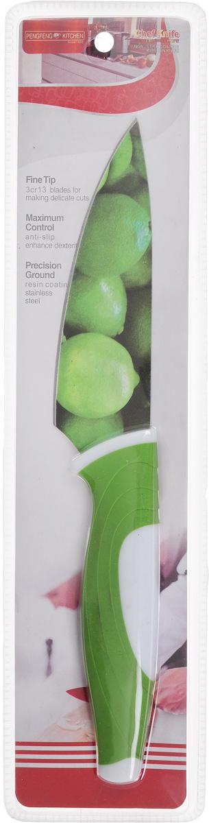 Нож поварской Empire of dishes, цвет: зеленый, белый, длина лезвия 12 смIM99-4718/4Нож поварской Empire of dishes, изготовленный из высококачественной нержавеющей стали, идеально подходит для измельчения и нарезки ломтиками продуктов. Нож оснащен удобной эргономичной рукояткой, выполненной из высококачественного пластика. Она не скользит в руках и делает резку удобной и безопасной. Яркий и нетривиальный дизайн ножа будет радовать его обладателя каждый раз, когда возникнут хлопоты на кухне. Общая длина ножа: 25 см.