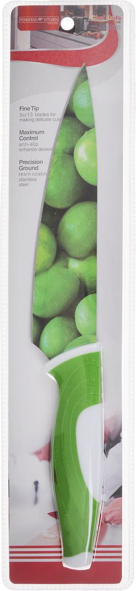 Нож поварской Empire of dishes, цвет: зеленый, белый, длина лезвия 17 смIM99-4720/3Нож поварской Empire of dishes, изготовленный из высококачественной нержавеющей стали, идеально подходит для измельчения и нарезки ломтиками продуктов. Нож оснащен удобной эргономичной рукояткой, выполненной из высококачественного пластика. Она не скользит в руках и делает резку удобной и безопасной. Яркий и нетривиальный дизайн ножа будет радовать его обладателя каждый раз, когда возникнут хлопоты на кухне. Общая длина ножа: 30,5 см.