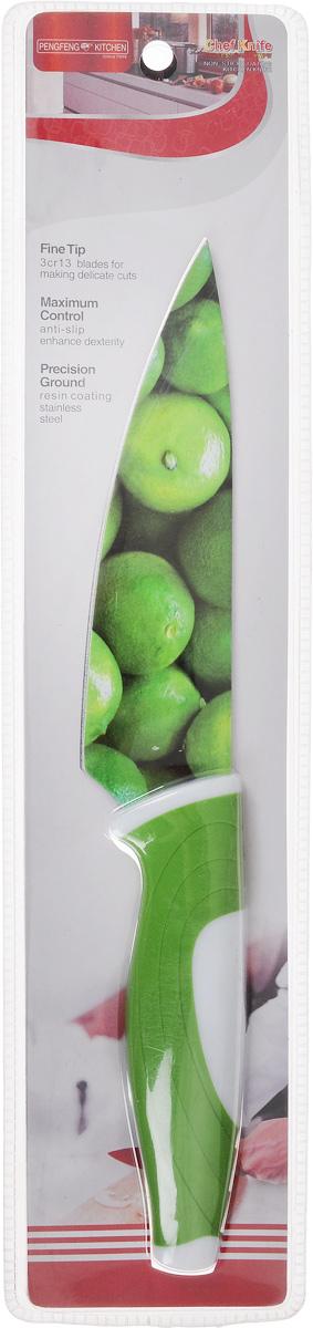 Нож поварской Empire of dishes, цвет: зеленый, белый, длина лезвия 14 смIM99-4719/3Нож поварской Empire of dishes, изготовленный из высококачественной нержавеющей стали, идеально подходит для измельчения и нарезки ломтиками продуктов. Нож оснащен удобной эргономичной рукояткой, выполненной из высококачественного пластика. Она не скользит в руках и делает резку удобной и безопасной. Яркий и нетривиальный дизайн ножа будет радовать его обладателя каждый раз, когда возникнут хлопоты на кухне. Общая длина ножа: 27,5 см.