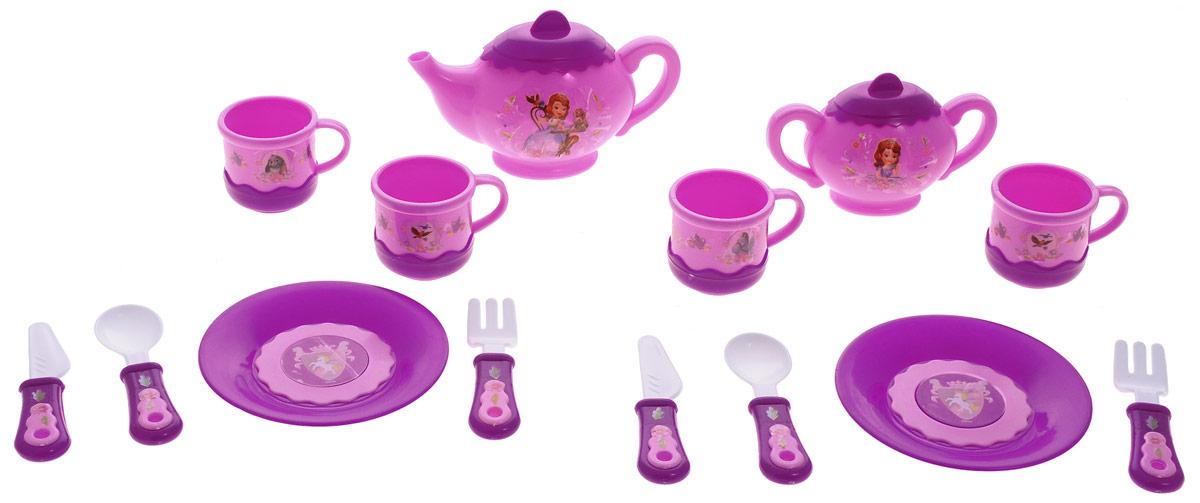Играем вместе Набор посуды София Прекрасная 14 предметовNF2745-R1Набор детской посуды Играем вместе София Прекрасная, изготовленный из пластика с изображением диснеевской принцессы Софии, привлечет внимание вашей малышки и не позволит ей скучать. В набор входят 4 чашки, сахарница, чайник, 2 тарелки, 2 вилки, 2 ложки, 2 ножа. С таким набором ваша маленькая хозяйка сможет угостить чаем все свои игрушки! Порадуйте свою малышку этим замечательным набором!