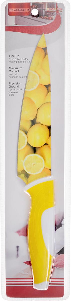 Нож поварской Empire of dishes, цвет: желтый, белый, длина лезвия 17 смIM99-4720/4Нож поварской Empire of dishes, изготовленный из высококачественной нержавеющей стали, идеально подходит для измельчения и нарезки ломтиками продуктов. Нож оснащен удобной эргономичной рукояткой, выполненной из высококачественного пластика. Она не скользит в руках и делает резку удобной и безопасной. Яркий и нетривиальный дизайн ножа будет радовать его обладателя каждый раз, когда возникнут хлопоты на кухне. Общая длина ножа: 30,5 см.